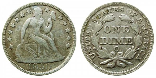 1850 - Seated Liberty Dime - New Orleans
