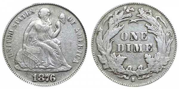 US Coin - 1876 - Seated Liberty Dime - San Francisco