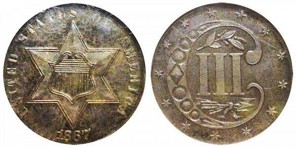 US Coin - 1867 - Three Cent Silver - Philadelphia