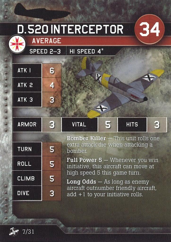 Axis & Allies Air Force - D.520 Interceptor