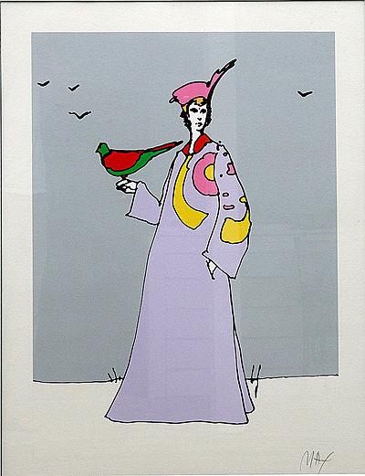 Peter Max Print - Bird in Hand