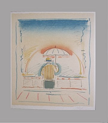 Peter Max Print - Man With Umbrella