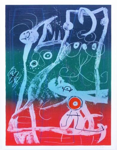Joan Miro Print - Le Delire du Couturier Bleu Rouge Vert