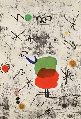 Joan Miro Print - Serie Personages i Estels 54