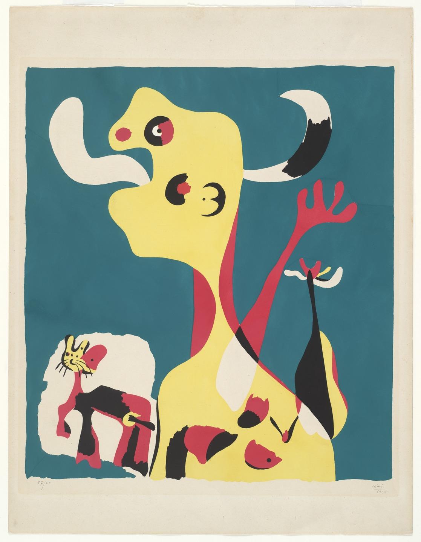 Joan Miro Print - Femme et chien devant la lune