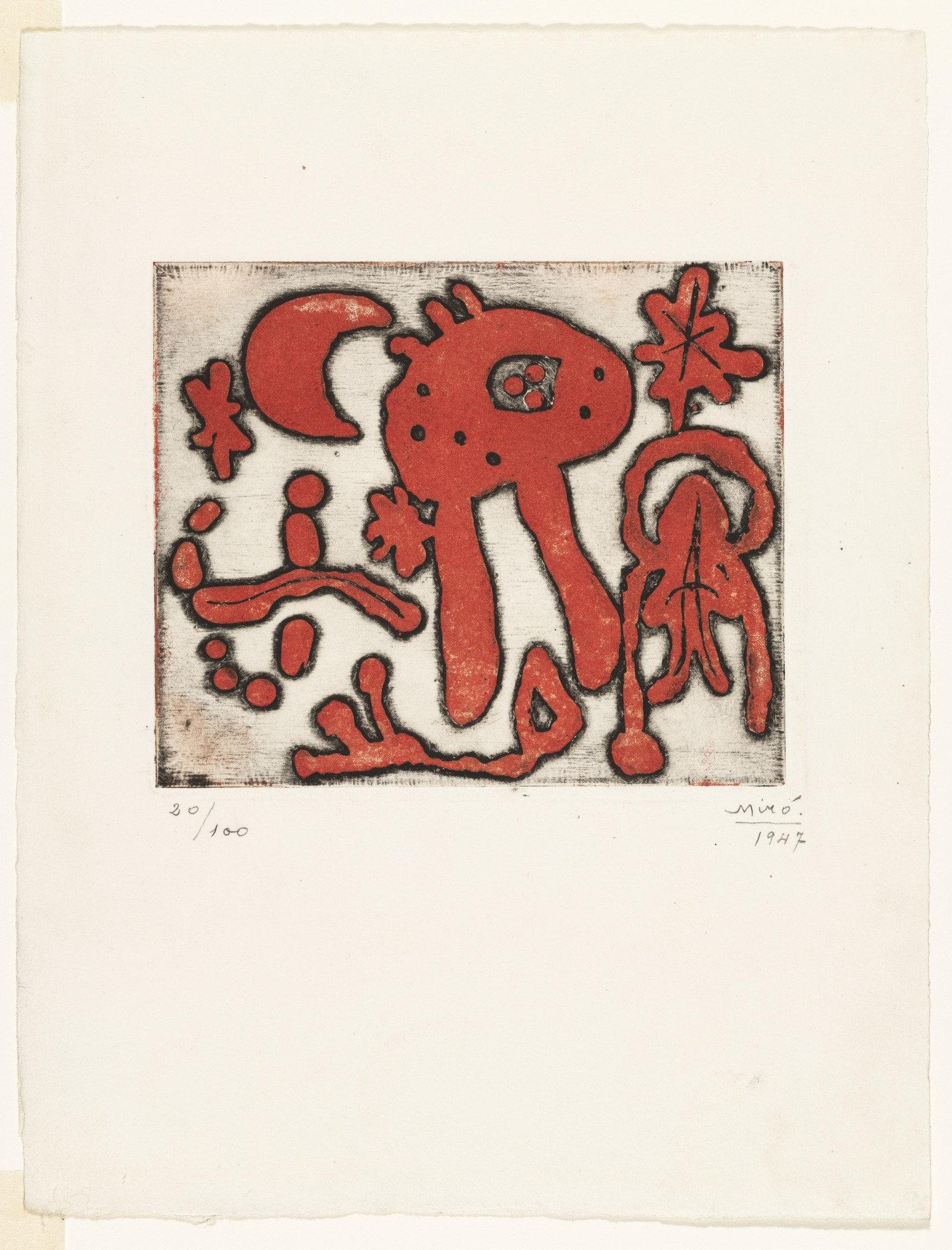 Joan Miro Print - Red Print