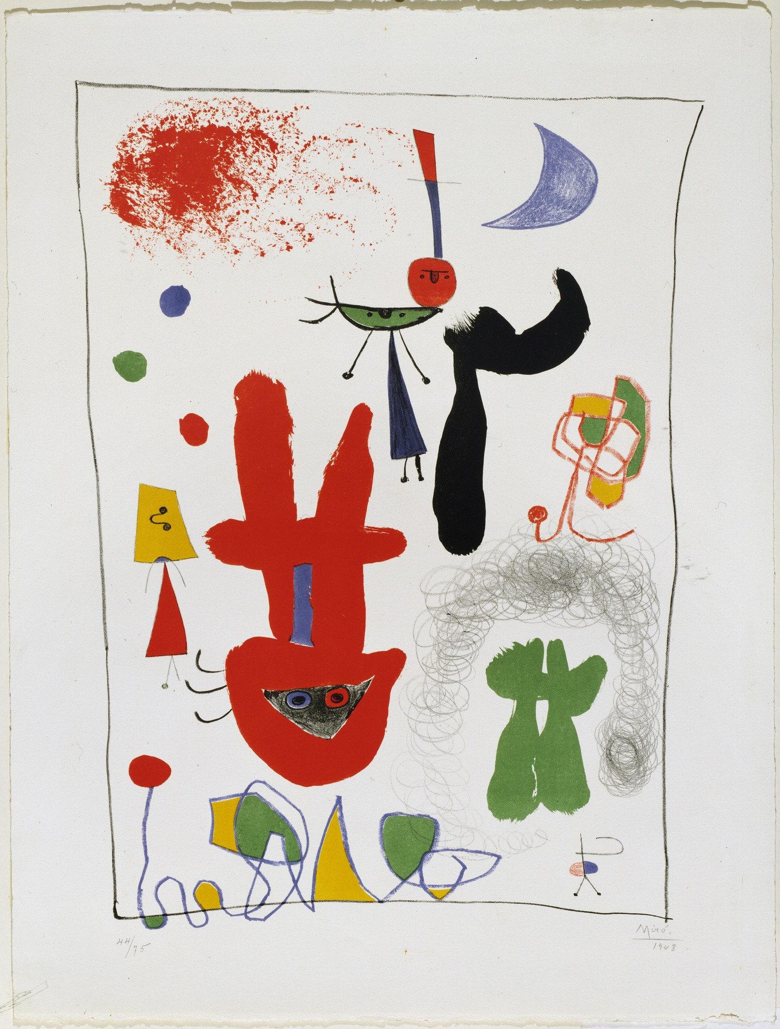 Joan Miro Print - Acrobats in the Night Garden