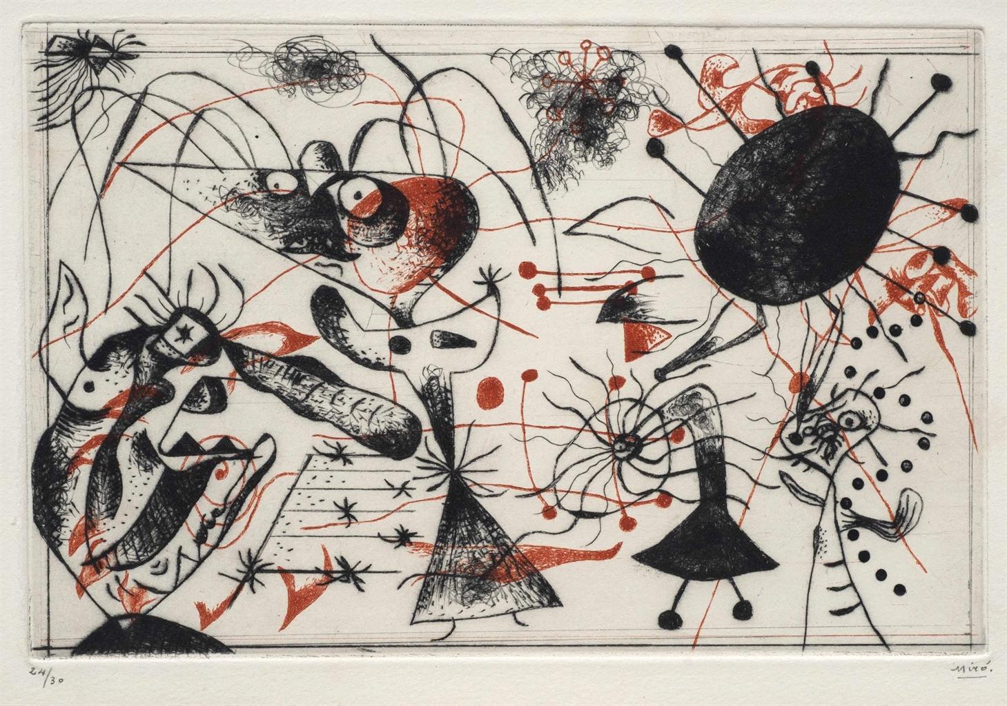 Joan Miro Print - Serie Noire et Rouge - Plate 2