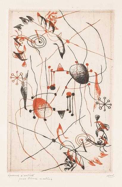 Joan Miro Print - Serie Noire et Rouge - Plate 1