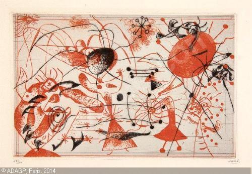 Joan Miro Print - Serie Noire et Rouge - Plate 6