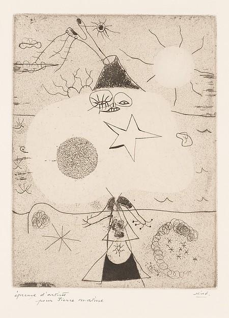 Joan Miro Print - Femme et Volcan