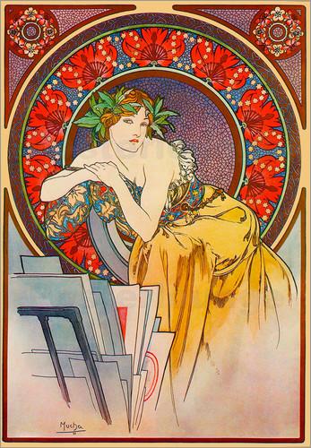 Alphonse Mucha Print - Femme au Carton a Dessins