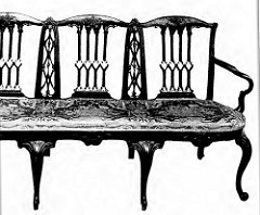 Chippendale Style - 18th Century - Triple Chair Settee - Mahogany