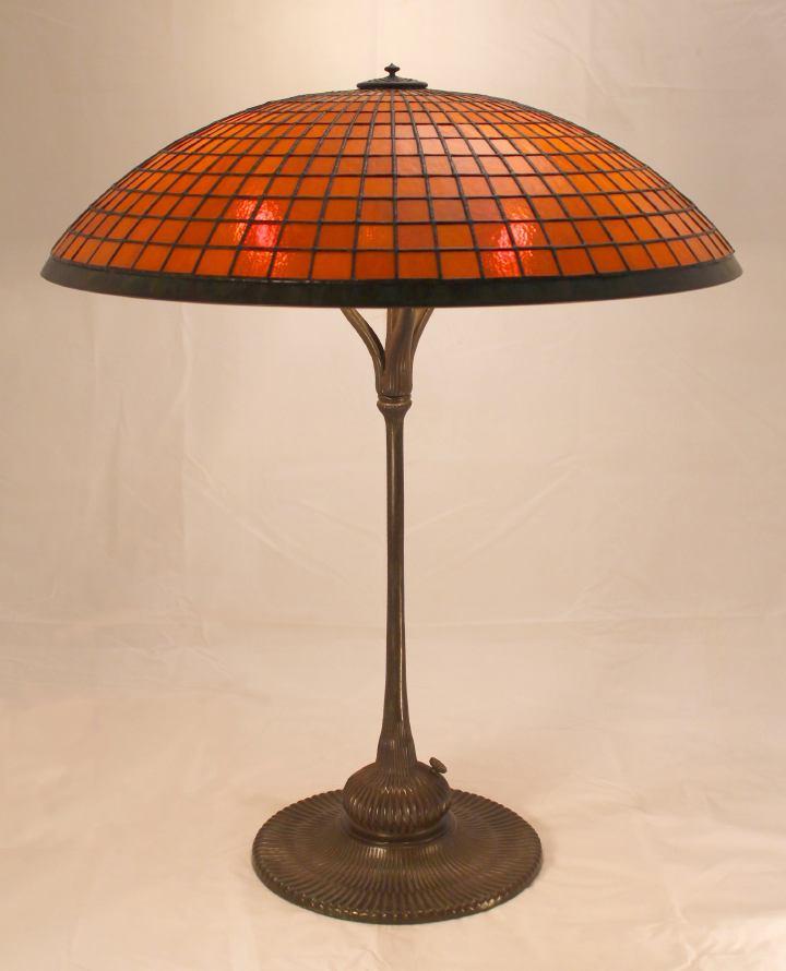 Lamp - Tiffany - Parasol Shade on Mandarin Lotus Base