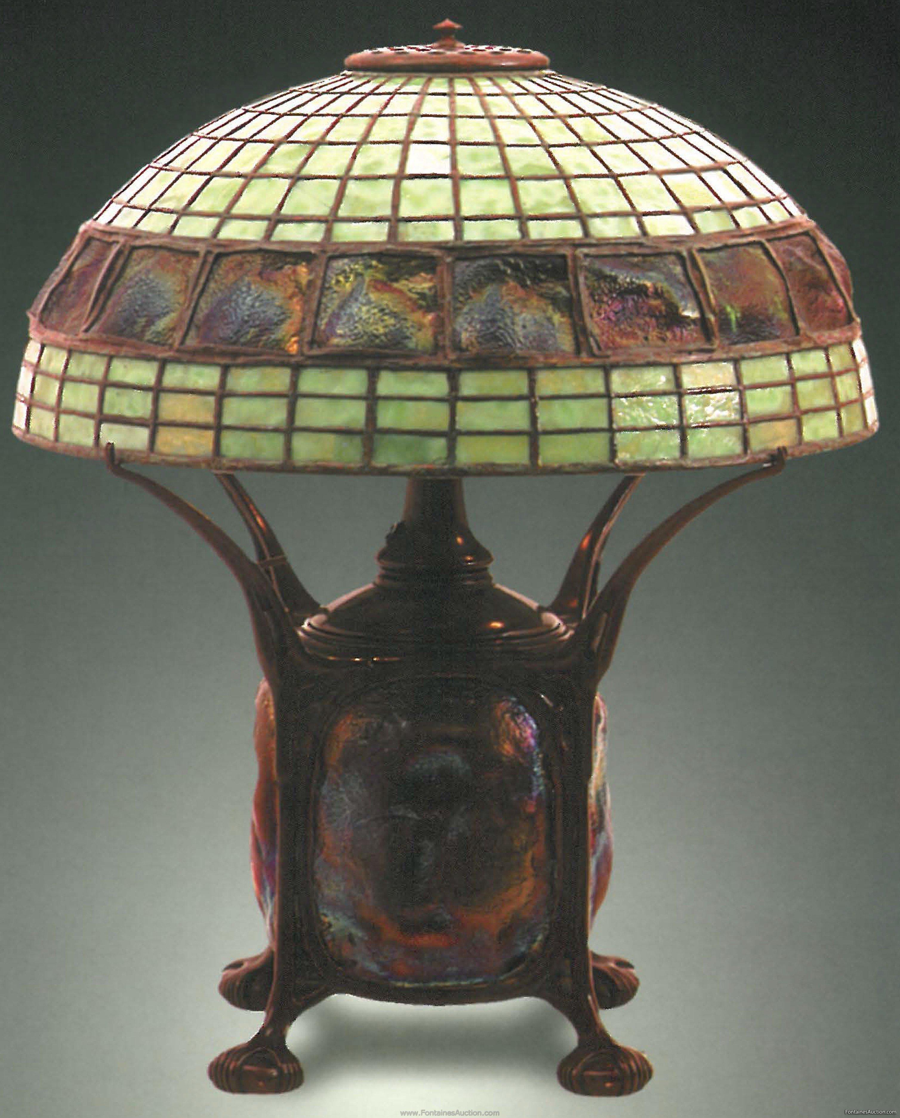 Lamp - Tiffany - Turtleback Belt Shade on Turtleback Base