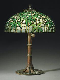 Lamp - Tiffany - Bamboo Shade on Bamboo Stand