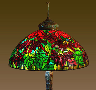 Lamp - Tiffany - Poinsettia Shade