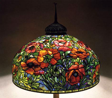 Lamp - Tiffany - Red Oriental Poppy Shade