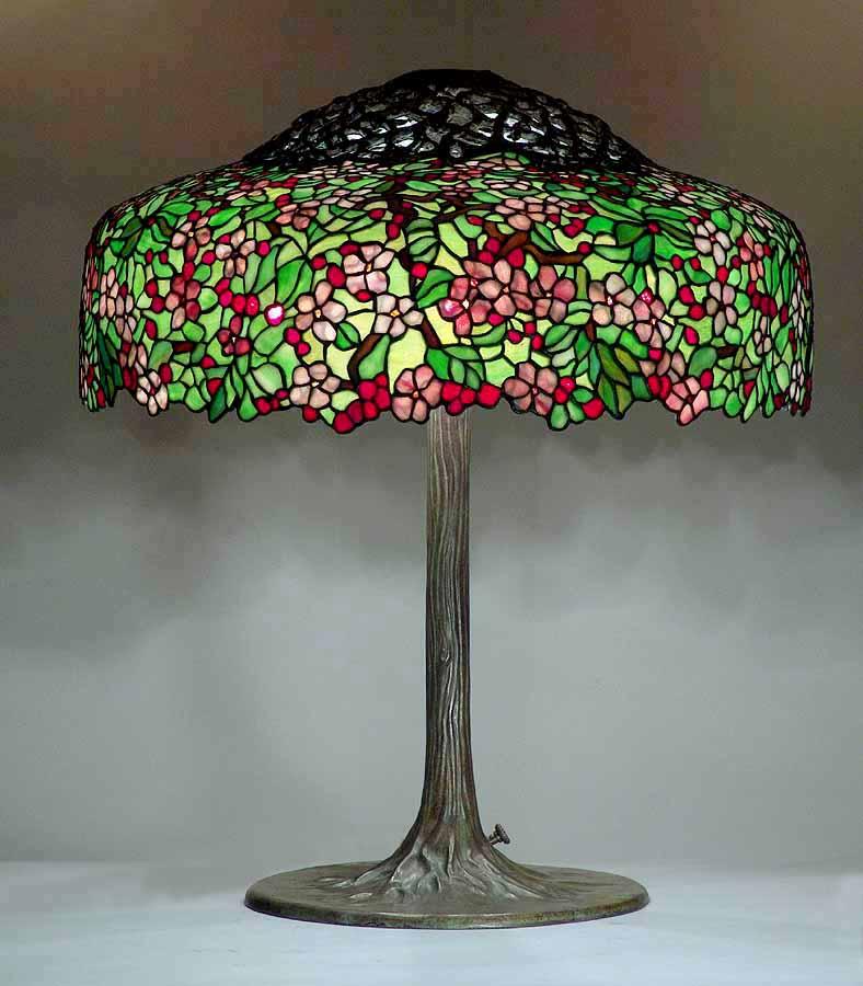 Lamp - Tiffany - Red Cherry Tree Shade