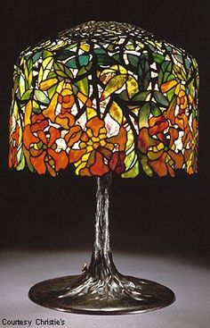 Lamp - Tiffany - Pendant Trumpet Vine Shade