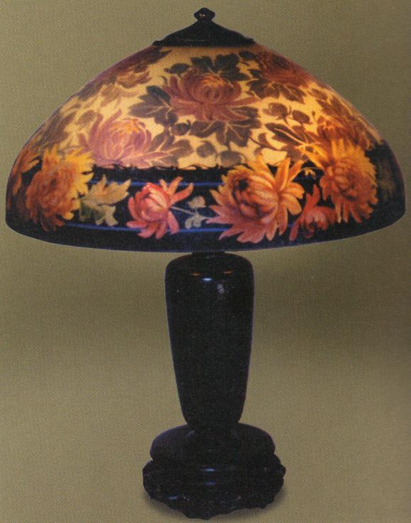 Lamp - Handel - Chrysanthemum Shade on Pierced Chinese Base