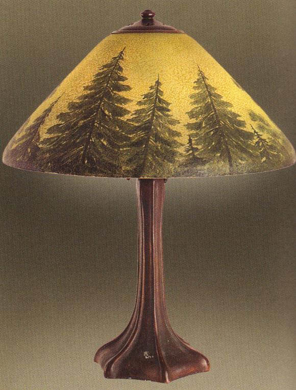 Lamp - Handel - Pine Tree Shade on Tree Trunk Base