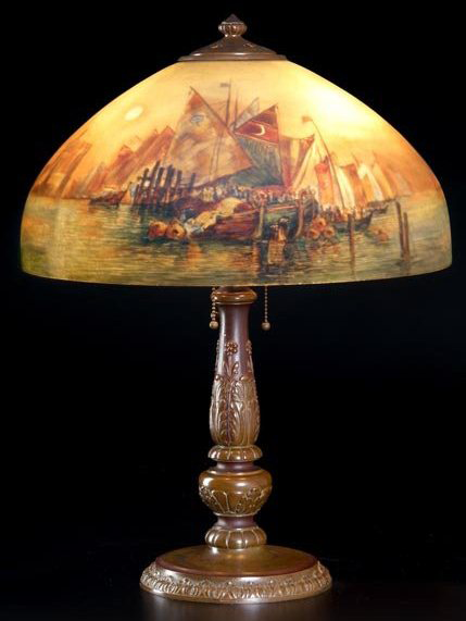 Lamp - Handel - Venetian Shade on Candlestick Base