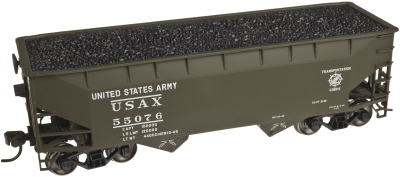 HO Scale - Atlas - 20 002 493 - Open Hopper, 2-Bay, Offset Side - United States Army - 55076