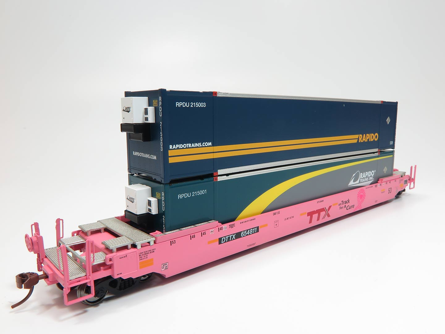 HO Scale - Rapido Trains - 401022 - Container Car, Single Well, Gunderson Husky Stack 53 - Trailer Train - 654851