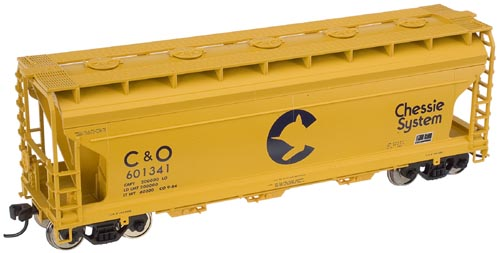 HO Scale - Atlas - 18922 A - Covered Hopper, 3-Bay, ACF 3560 - Chessie System - 601389