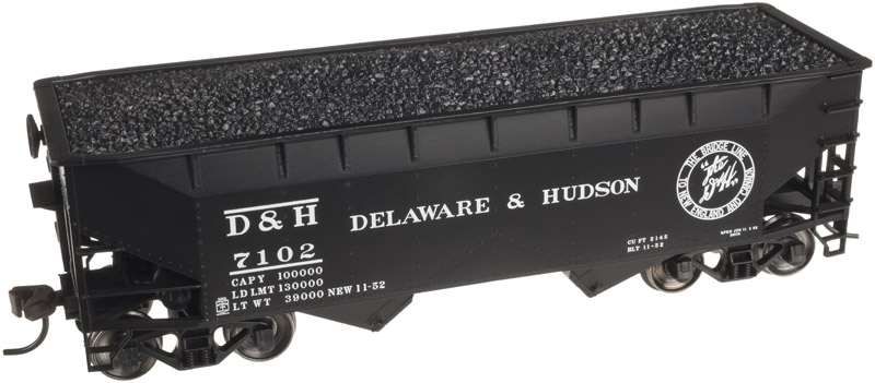 HO Scale - Atlas - 20 002 476 - Open Hopper, 2-Bay, Offset Side - Delaware & Hudson - 7102