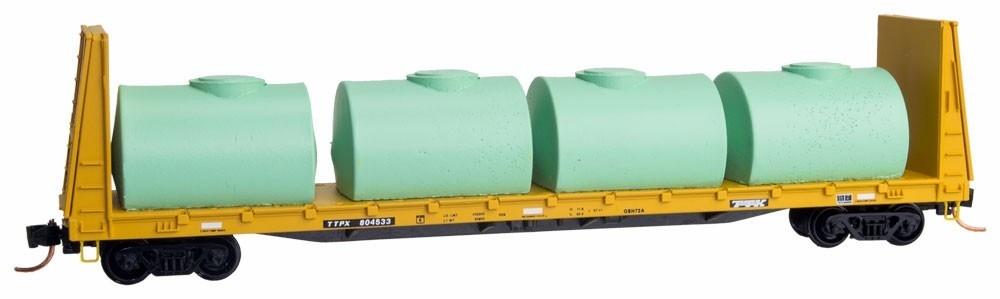N Scale - Micro-Trains - NSE MTL 17-40 - Flatcar, Bulkhead - Burlington Northern Santa Fe - 929999
