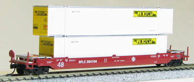 N Scale - Con-Cor - 0001-14726 - Container Car, Single Well, Gunderson Husky Stack 48 - Santa Fe - 254104