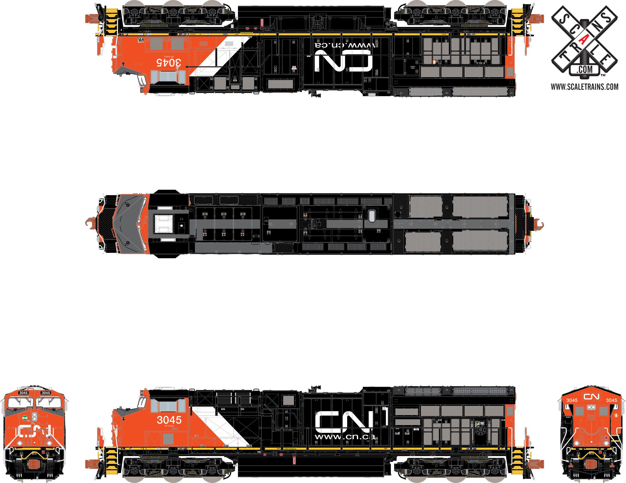 N Scale - ScaleTrains.com - SXT31002 - Locomotive, Diesel, GE GEVO - Canadian National - 3034