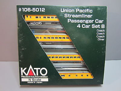N Scale - Kato USA - 106-5012 - Union Pacific Streamliner Passenger Car 4-Car Set B - Union Pacific - 5421, 5447, 6956, 1431
