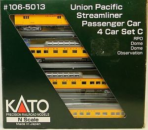 N Scale - Kato USA - 106-5013 - Union Pacific Streamliner Passenger Car 4-Car Set C - Union Pacific - 8225, 7000, 7007, 1575