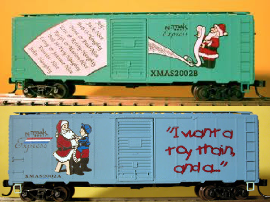 N Scale - Design Preservation Models - TST DLX 02-15 - Boxcar, 40 Foot, AAR 1944 - Merry Christmas - 2002A, 2002B
