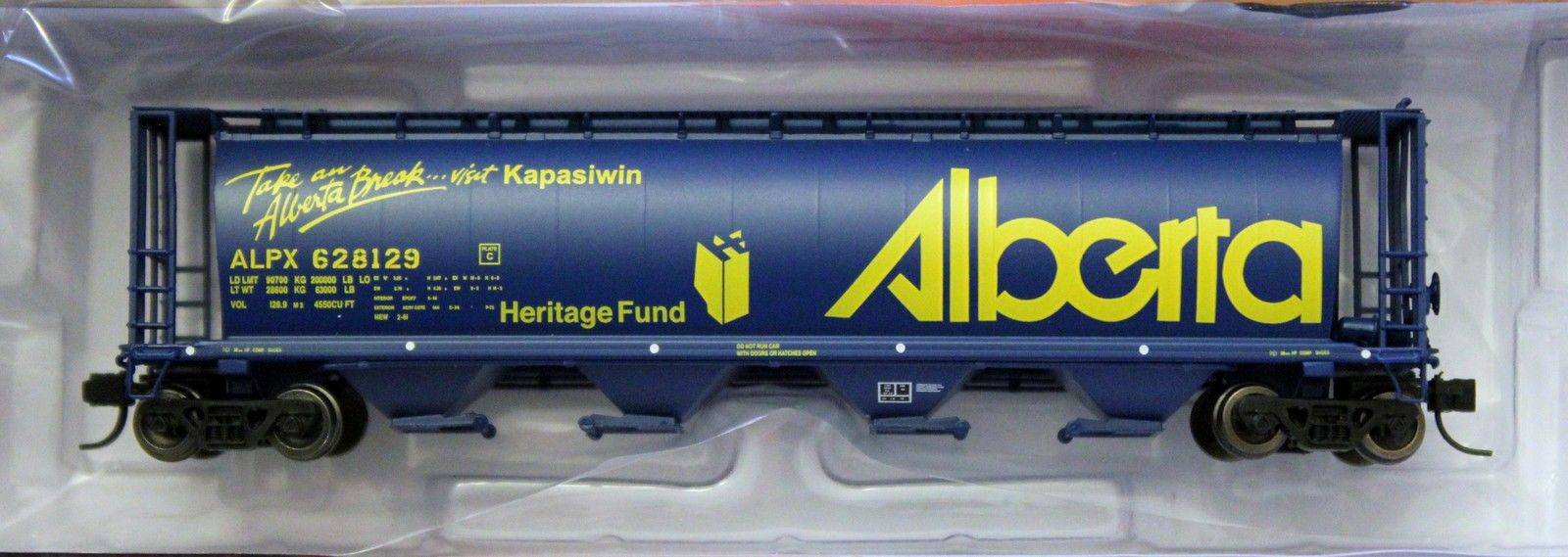 N Scale - InterMountain - 65118-57 - Covered Hopper, 4-Bay, Cylindrical - Alberta Government - 628129 Kapasiwin