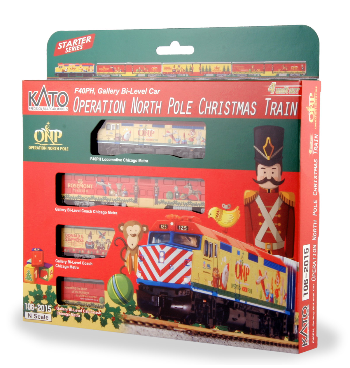 N Scale - Kato USA - 106-2015 - Christmas Train F40PH with 3 Cars - Operation North Pole - 2015 Version