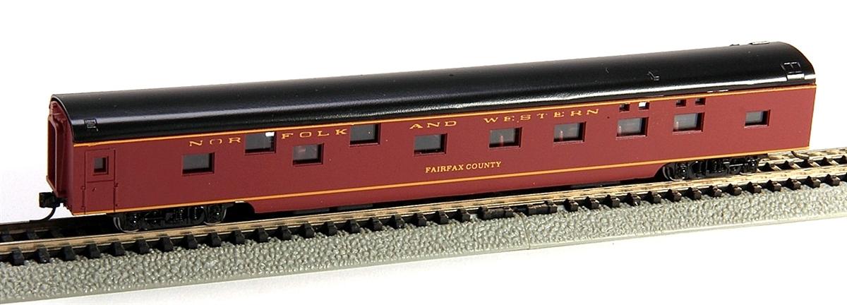 N Scale - Con-Cor - 0001-040072-2 - Passenger Car, Smoothside, 85 Foot Sleeper - Norfolk & Western - Roanoke College