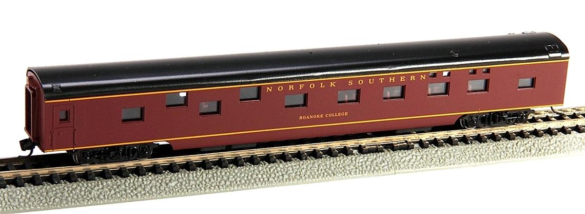 N Scale - Con-Cor - 0001-040094 - Passenger Car, Smoothside, 85 Foot Sleeper - Norfolk Southern - Roanoke College