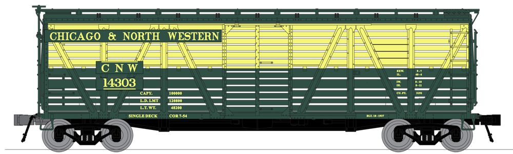 N Scale - Broadway Limited - 3371 - Stock Car, 40 Foot, Steel - Chicago & North Western - 14303, 14308, 14313, and 14328