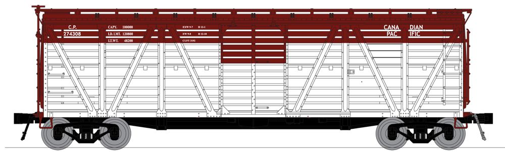 N Scale - Broadway Limited - 3372 - Stock Car, 40 Foot, Steel - Canadian Pacific - 274338, 274348, 274356, and 274376