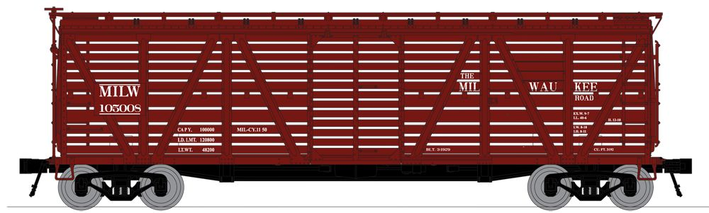 N Scale - Broadway Limited - 3373 - Stock Car, 40 Foot, Steel - Milwaukee Road - 105324, 105300, 105478, and 105482