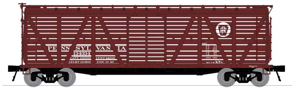 N Scale - Broadway Limited - 3367 - Stock Car, 40 Foot, Steel - Pennsylvania - 134448
