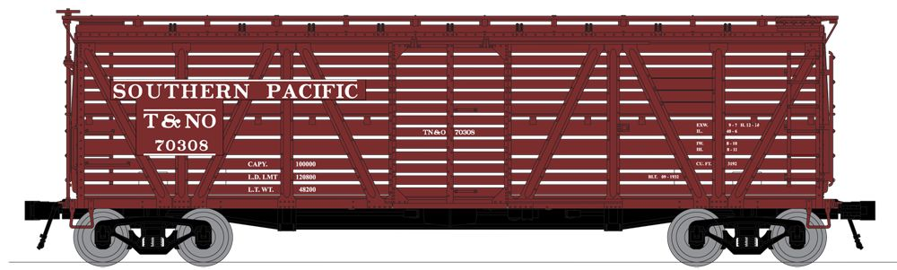 N Scale - Broadway Limited - 3375 - Stock Car, 40 Foot, Steel - Southern Pacific - 70318, 70326, 70368, and 70388