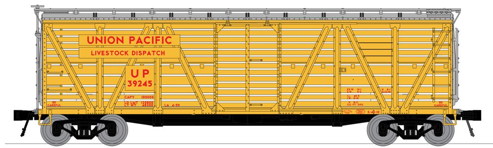 N Scale - Broadway Limited - 3368 - Stock Car, 40 Foot, Steel - Union Pacific - 39208
