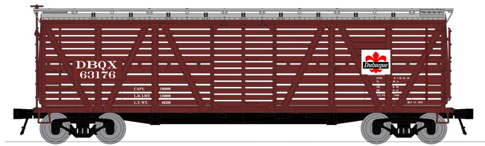 N Scale - Broadway Limited - 3363 - Stock Car, 40 Foot, Steel - Dubuque Packing - 63198