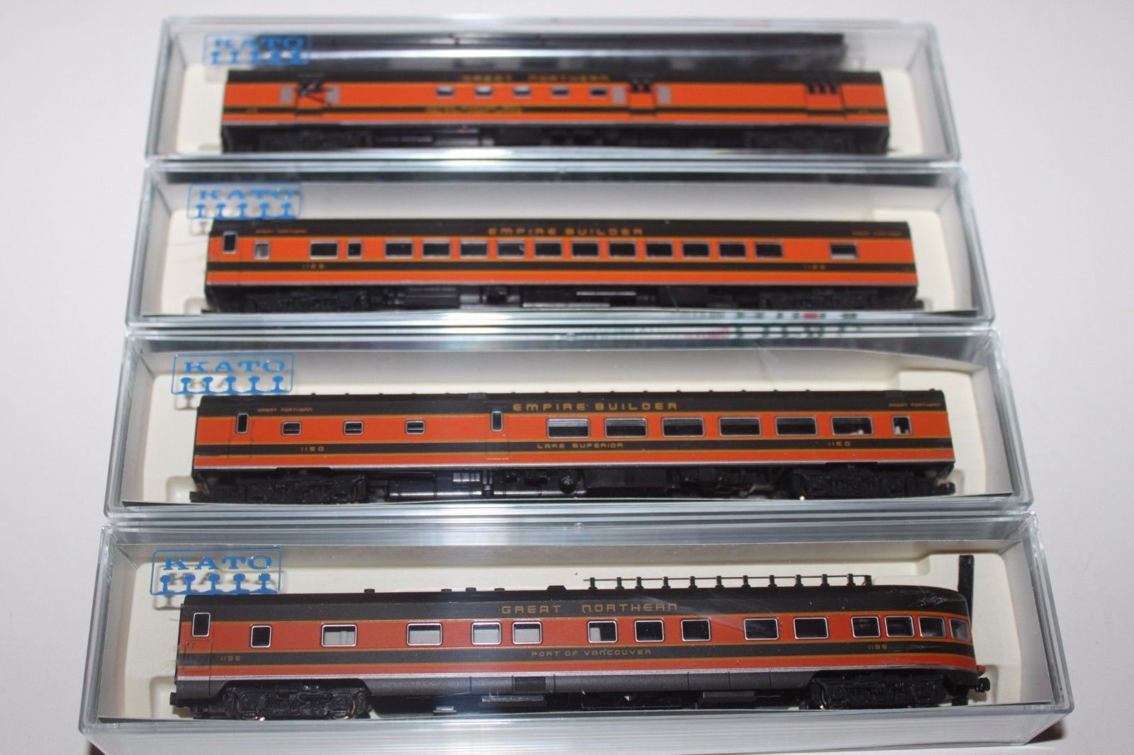 N Scale - Kato USA - 106-1004 - Great Northern Smoothside Passenger 4-Car Set A-2 - Great Northern - Port of Vancouver, Lake Superior, 1122, 40