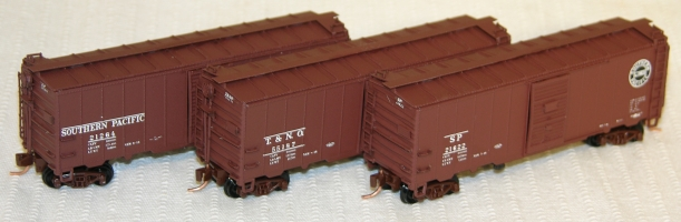 N Scale - InterMountain - PNS0017 - Boxcar, 40 Foot, Steel 12 Panel - Southern Pacific - 21264, 21622, 55187